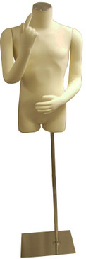 One Day Rental --  Cream Jersey Knit Male Foam Dress Form with Flexible Arms and Base JF-M01ARM-BS05R