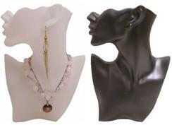 2 PCS Fiberglass Jewelry Display Half Heads JWRS-B2BK & JWSR-B2WH