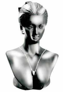 Silver Lady Half Display Head Bust MM-JW-A2