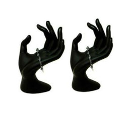 "2 Black Fiberglass Display Hands 8"" Tall MM-DS-044"