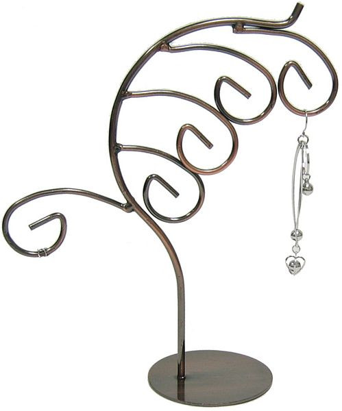 Feather Design Antiqued Copper Tone Jewelry Stand MM-DS-145
