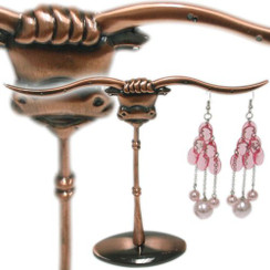 Whimsical, Pierced Ears Long Horn Bull Jewelry Display/Organizer MM-DS-151