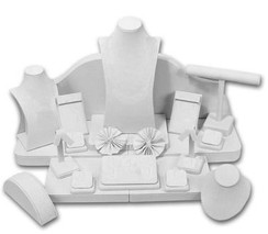 Set of 23 Assorted Jewelry Displays : [White Leatherette] MM-ASET65LW
