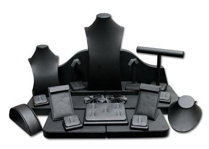 Set of 23 Assorted Jewelry Displays : [Black Leatherette] MM-ASET65BK