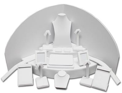 Set of 18 Assorted Jewelry Displays : [White Leatherette] MM-ASET63LW