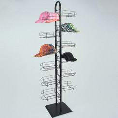Black Floor Standing Cap Display Rack Tower MM-AS-CAP