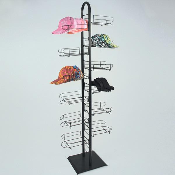 Black Floor Standing Cap Display Rack Tower MM-AS-CAP