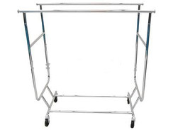 Collapsible Double Rails Salesman Rolling Rack - Chrome MM-RK-RCS2