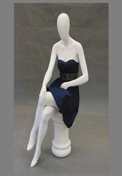Gloria, Matte White Abstract Seated Egg Head Female Mannequin MM-GS9W2