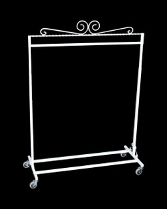 White Boutique Salesman Rolling Rack - Single Rail MM-TY1BARW