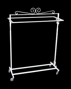 White Boutique Salesman Rolling Rack - Double Rail MM-TY2BARW