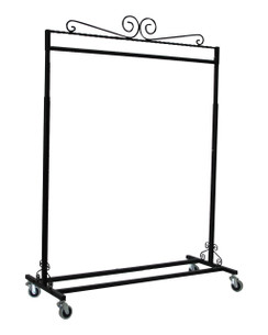 Black Boutique Salesman Rolling Rack - Single Rail MM-TY1BARBK