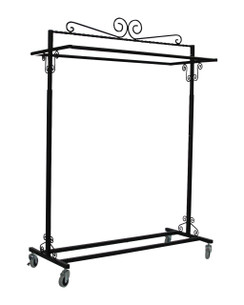 Black Boutique Salesman Rolling Rack - Double Rail MM-TY2BARBK