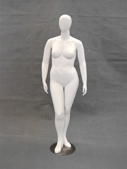 Matte White Abstract Plus Size Egg Head Female Mannequin MM-NANCYW1-1