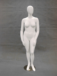 Matte White Abstract Plus Size Egg Head Female Mannequin MM-NANCYW2-1