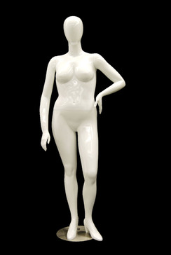 Gloss White Plus Size Abstract Egg Head Mannequin MM-NANCY-W3S