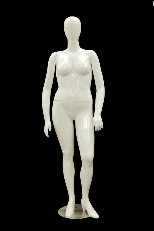 Gloss White Plus Size Abstract Egg Head Mannequin MM-NANCY-W2S