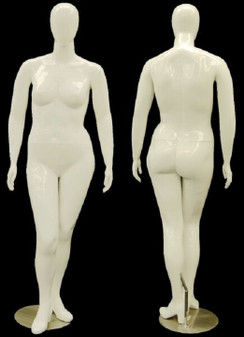 Gloss White Plus Size Abstract Egg Head Mannequin MM-NANCY-W1S