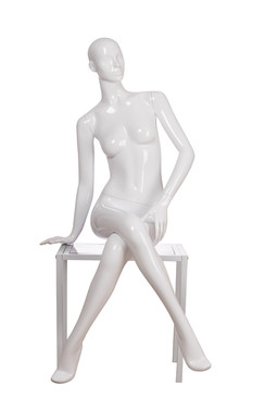 Samantha,Gloss White Abstract Seated Female Mannequin with face features and Stool MM-ANN-A6