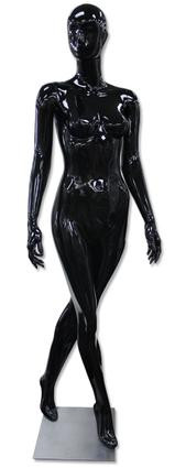 Lee, High-End Glossy Black Abstract Female Mannequin with face features MM-AF25GB
