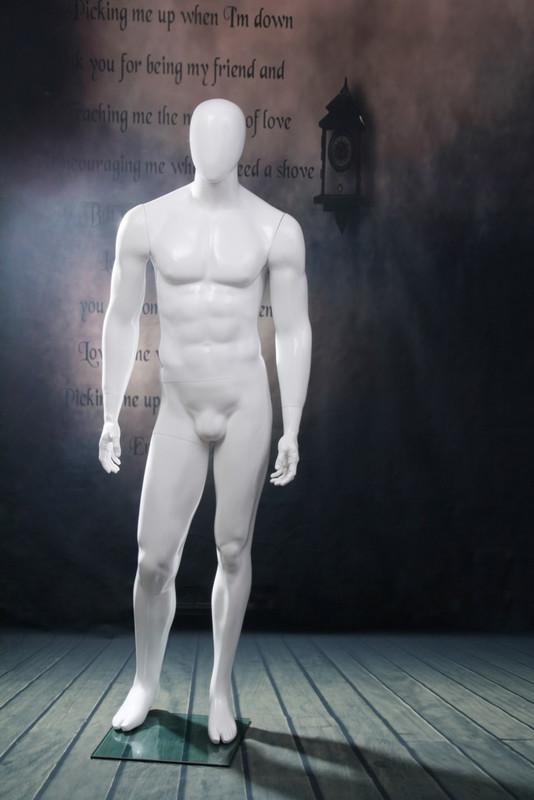Michael, Gloss White Abstract Egg Head Male Mannequin MM-WEN5EG