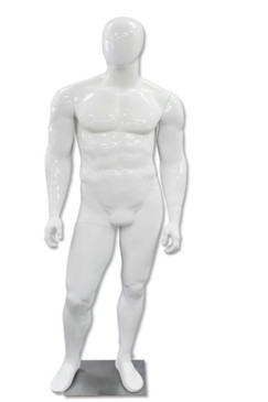 Tony, High-End Glossy White Abstract Egg Head Male Mannequin MM-A60W