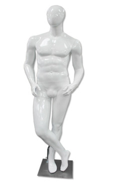 TJ, High-End Glossy White Abstract Egg Head Male Mannequin MM-A70W