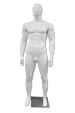 Tyler, High-End Glossy White Abstract Egg Head Male Mannequin MM-A80W