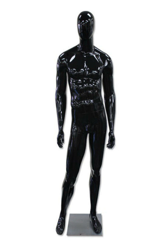 Antonio, High-End Glossy Black Abstract Egg Head Male Mannequin MM-AM60GB