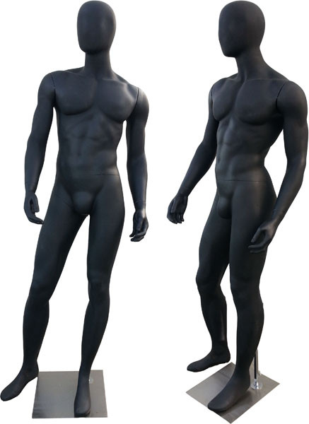 Jack, High-End Matte Black Abstract Egg Head Male Mannequin MM-169B