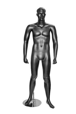 Jarvis, Matte Black Male Mannequin with face features MM-2BLK