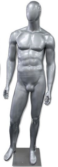 Gerald, High-End Glossy Silver Abstract Egg Head Male Mannequin MM-AM60GS