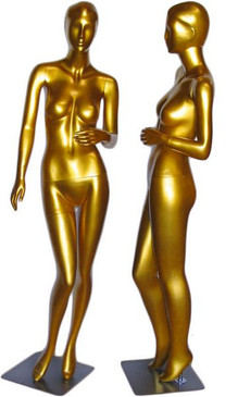 Tonya, Gold Abstract Female Mannequin with face features MM-027GLD