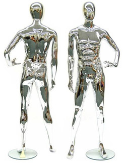 Mike, Chrome Abstract Male Mannequin MM-PS9013CM