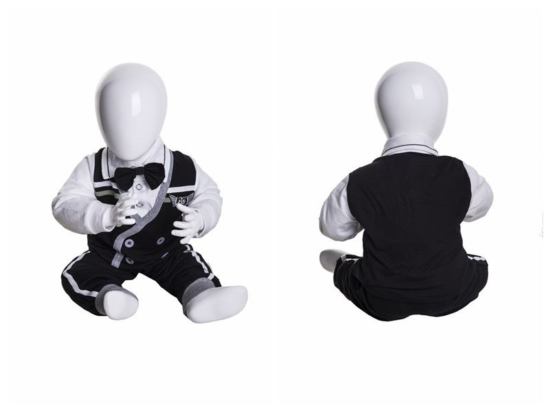 Gloss White Abstract Egg Head Child Mannequin MM-MIU03