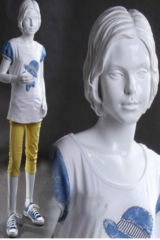 Gloss White Child Female Mannequin with Molded Hair MM-KENYA07
