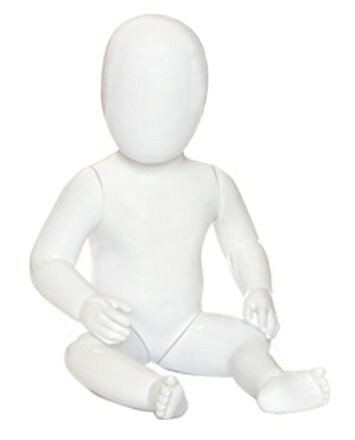 Plastic White Abstract Egg Head Seated Child Mannequin MM-CM-GL2