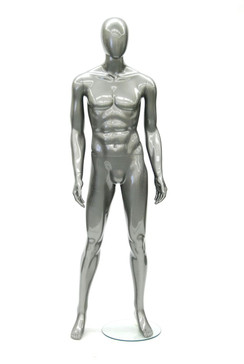 Glossy Grey Plastic Male Egg Head Mannequin MM-PS9011GGY