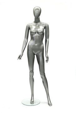 Glossy Grey Plastic Female Egg Head Mannequin MM-PS80155GGY