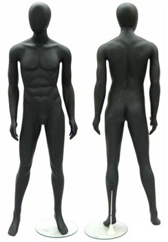 Matte Black Plastic Male Egg Head Mannequin MM-PS-9011YBK