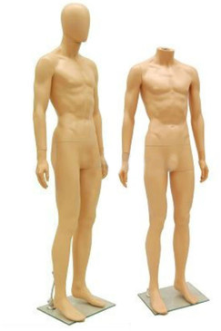 Fleshtone Plastic Male Egg Head Mannequin MM-PS-SM1F-EG