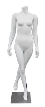 Diamond 3, High-End Fiberglass Headless Female Mannequin Matte White MM-HF45W