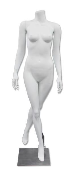 Diamond 3, High-End Fiberglass Headless Female Mannequin Matte White MM-HF45W