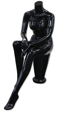 Diana 4, High-End Fiberglass Seated Headless Female Mannequin Glossy Black MM-HF55GB