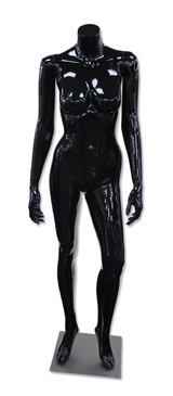 Diana 5, High-End Fiberglass Headless Female Mannequin Glossy Black MM-HF15GB