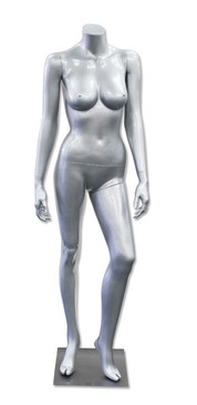 Delores 5, High-End Fiberglass Headless Female Mannequin Glossy Silver