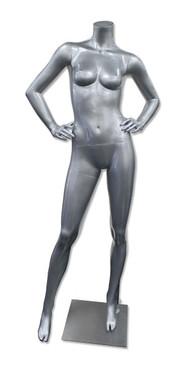 Delores 1, High-End Fiberglass Headless Female Mannequin Glossy Silver MM-HF25GS