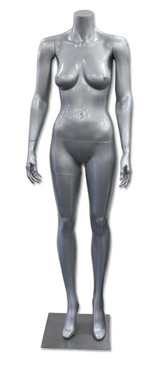Delores 2, High-End Fiberglass Headless Female Mannequin Glossy Silver MM-HF35GS