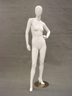 Pat, Gloss White Abstract Egg Head Female Mannequin MM-GS7W1