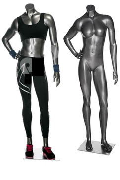 Halle 1, High-End Fiberglass Headless Athletic Female Mannequin Metallic Grey MM-HEF17